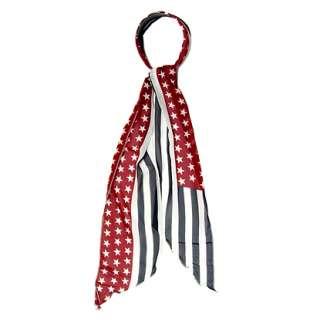 Fashion Scarf Look Headband Patriotic America Flag Red