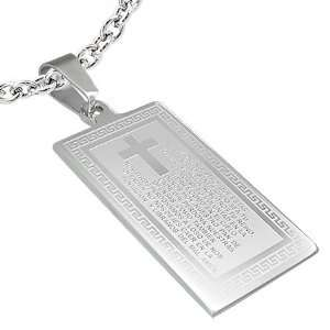 Mission Stainless Steel Greek Key The Lords Prayer Cross Tag Pendant