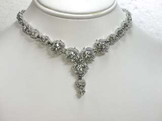 RHINESTONE CRYSTAL NECKLACE & EARRINGS SET FOR BRIDAL WEDDING H24