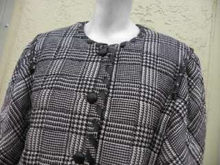 HANAE MORI BLACK WHITE HOUNDSTOOTH QUILTED SILK JACKET SZ 14