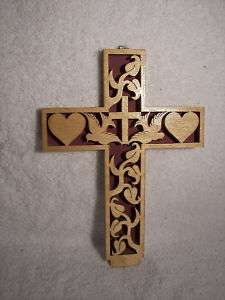 Handmade NEW scroll Saw Hearts Dove Cross