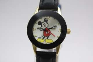 New Disney Mickey Mouse Collectible Black Leather Band Watch MCK537