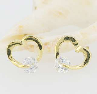 Sparkling Clear Swarovski Crystal Gold Love Heart Earrings Stud