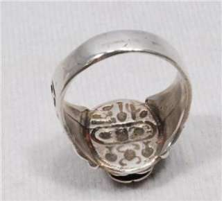 Rare Silver Ancient Egyptian Scarab Mens Ring with Hieroglyphs