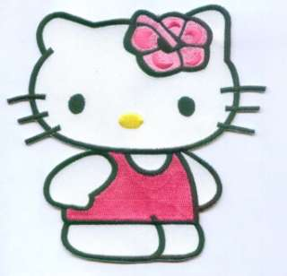 Pink Hello Kitty Cat Embroidered Iron On Patch 5 Inch
