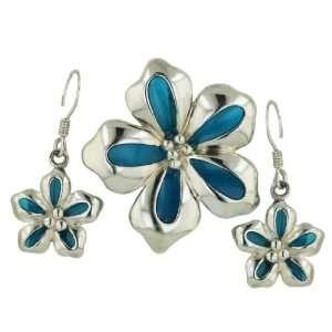 Sterling Silver Enamel Flower Fish Hook Earrings and Pendant Set 16
