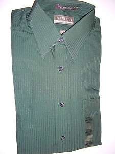 421 VAN HEUSEN Emerald Green Satin ST Mens Dress Shirts Size S   14 1