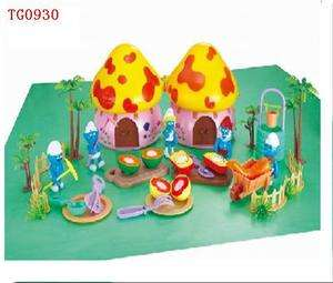 New Smurf Figures Happy Family Mushroom House Set TG0930