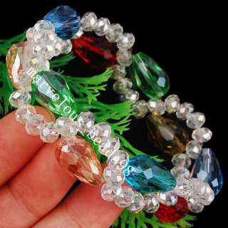 10x16mm Multicolor Crystal Beads Necklace Bracelet Earrings Set