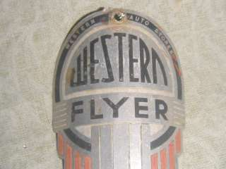 vintage Original Western Flyer bike headbadge badge bicycle retro rare