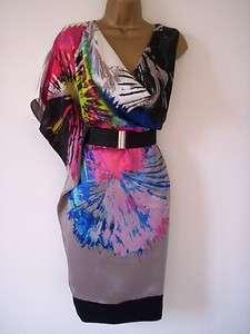 Ladies KAREN MILLEN Grey Black Pink Print SILK Kimono DRESS