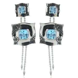 Morelli White gold New Paul 18k Blue Topaz Earrings