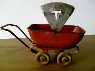 Adorable circa 1930s Metal Toy Baby Carriage w/ Wooden Wheels Made in