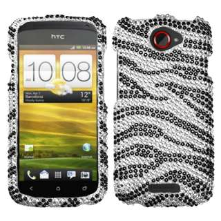 NEW BLACK ZEBRA SKIN BLING CASE FOR HTC ONE S PROTECTOR SNAP ON COVER