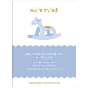 Blue Rocking Horse Baby Shower Invitations Health