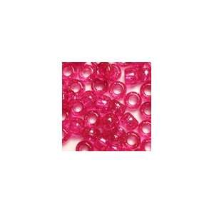 Hot Pink Glitter Plastic Pony Beads 6x9mm, 25grams (about