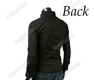 New Mens Casual Luxury Stylish Long Sleeve Slim Shirts Two Color Three