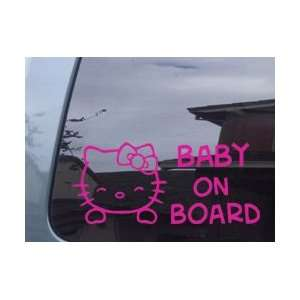 Hello Kitty Baby On Board Pink Vinyl Decal Sticker