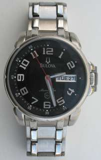Large 44mm Bulova Marine Star 100m 98C100 Black Dial Watch SS
