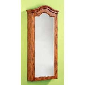 Antique Oak Wall Jewelry Storage Mirror