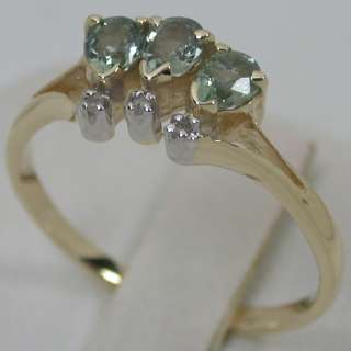 16 CTS 14K SOLID YELLOW GOLD NATURAL GREEN SAPPHIRE DIAMOND TRILOGY