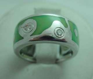 La Nouvelle Bague 18k White Gold Diamond & Enamel Band Ring