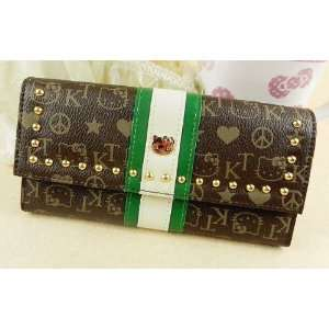 Hello Kitty Brown Monogram Coin Card Long Wallet Case Purse Pouch