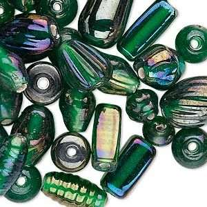 Luster Emerald Green Glass Bead Lot Mix With Fun Assorted Shapes