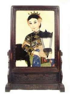 Antique Chinese Reverse Painted Glass Princess Portrait