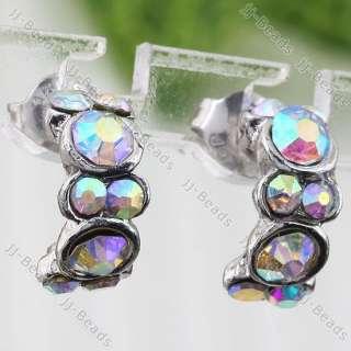 2pc AB White Crystal Rhinestone Bead Curved Earring Stud Fashion