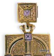 NEW Russian Gold/Sterling Silver Cross Medal Jesus Mary