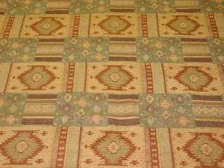 Western Style Brown Gold Blue Upholstery Fabric bty