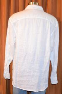 SEAN JOHN LONG SLEEVE WHITE CASUAL BUTTON DOWN 100% LINEN SHIRT MENS