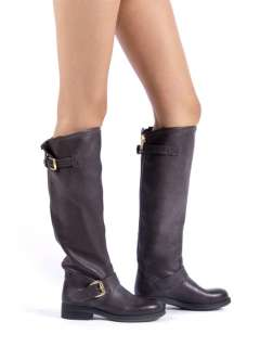 STEVE MADDEN LINDLEY Women Leather Motorcycle Knee High Riding Boot sz