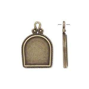 Drop, JBB Findings, aniqued brass, 17x16mm single sided