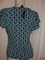 EAST 5th Size PL/L Blue Olive Black Jolene SS V neck Blouse Top