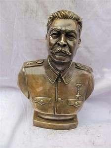 Large USSR Josef Stalin Bronze Statue Sculpture 11H