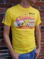 vtg 70s Bowling Iron on & Patches soft funny tshirt S