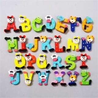26PCS cartoon Kids Wooden Alphabet fridge Magnet,Child Educational Toy