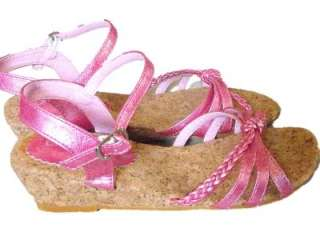 Teen Girl sz Laura Ashley Strappy Shiny Pink Sandals Wedge 1.75in heel