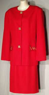 Laura Winston Red Skirt Suit Gold Details Size 14