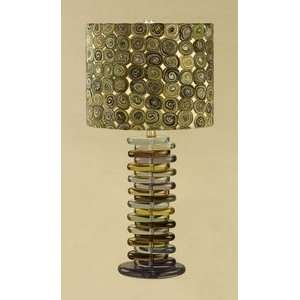 Liora Manne designed Multi colored Table lamp with fabric shade