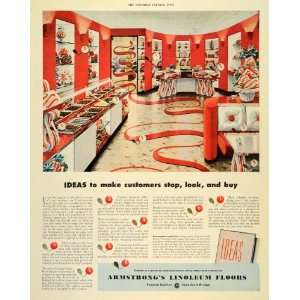 Ad Ideas Customers Shop Armstrong Linoleum Floors   Original Print Ad