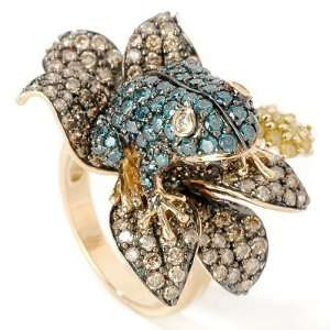 14K Gold 4.27ct Multi Color Diamond Frog & Lillypad Ring Jewelry