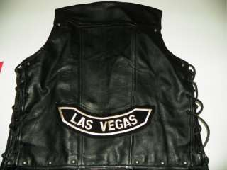 Rare Vintage Harley Davidson Vegas Black Leather Vest M Medium