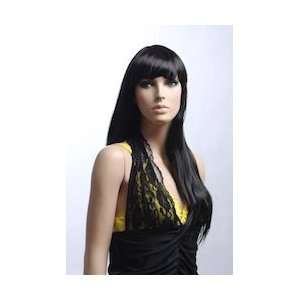 Long Female Jet Black Mannequin Wig CL006