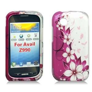 For AT&T Zte Avail Z990 Accessory   Pink Butterfly Flower Design Case