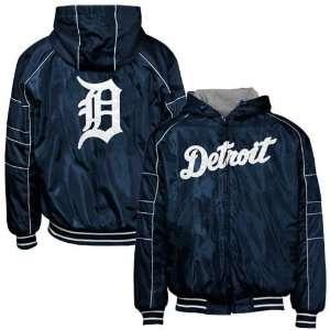 Detroit Tigers Navy Blue Reversible Full Zip Hoody Jacket