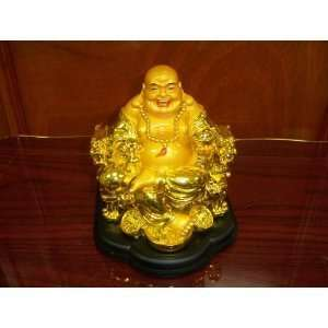 Happy Laughing Buddha Statue Sculpture Figurine    Gold