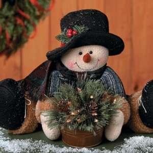 Plush Snowman with Light up mini Christmas tree